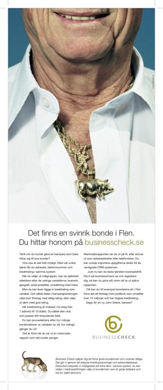 Byrå: Tuvemark. Copywriter: Ulf Börgesson. AD: Mats Millner. Projektledare: Gunny Kron.